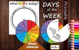 Week wheel, DAYS of the WEEK, Printable, Today, Yesterday,