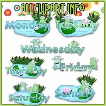 $1.00 BARGAIN BIN - Weekday Frogs Clip Art