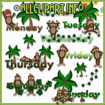 $1.00 BARGAIN BIN - Weekday Monkeys Clip Art