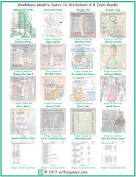 Weekdays-Months-Dates 16 Worksheet- 4 Exam Bundle