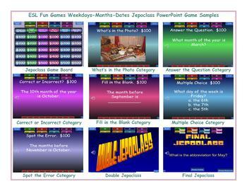 Weekdays-Months-Dates Jeopardy PowerPoint Game Slideshow