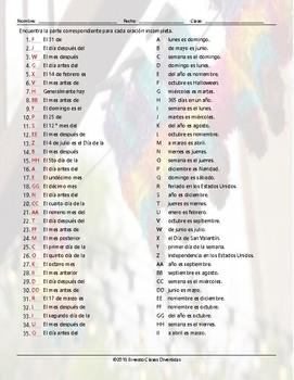 Weekdays, Months, and Dates Sentence Match Spanish Worksheet