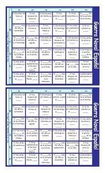 Weekdays, Months and Dates Spanish Battleship Board Game
