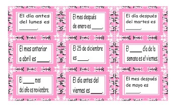 Weekdays, Months and Dates Spanish Card Game