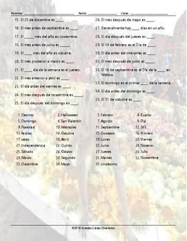Weekdays, Months, and Dates Word Spiral Spanish Worksheet