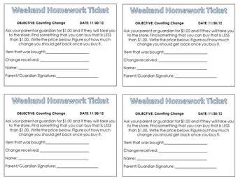 Weekend Homework Tickets