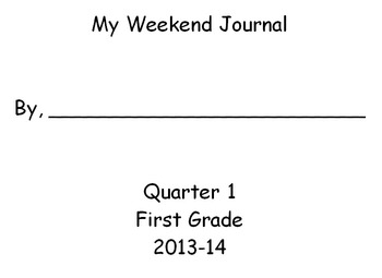 Weekend Journal Writing Activity for First Graders