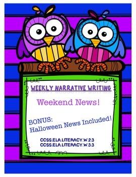 Weekend News Narrative Writing - Halloween News Included!