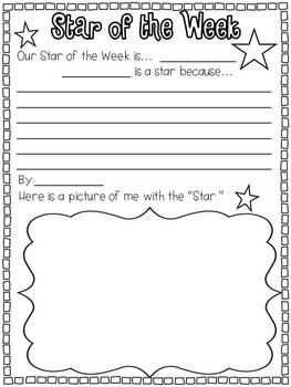 Weekend News, Star of the Week, Word of the Day, and Word Wall Words
