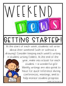 FREEBIE - Weekend News - Weekly Student Writing