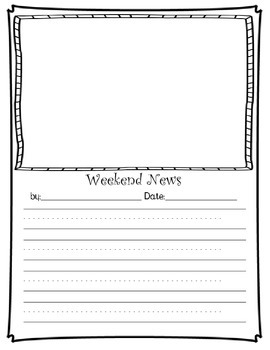 Weekend news writing pack by learn grow teach teachers for Story outline template for kids