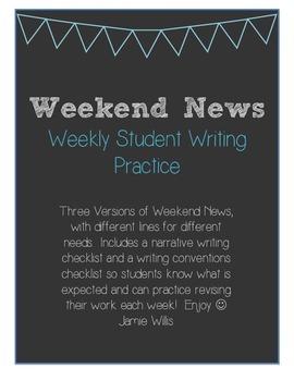 Weekend News Weekly Writing FREEBIE