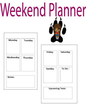 Weekend Planner  Teachers planners/ Students Planners