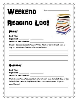Weekend Reading Log - Practicing Character Traits