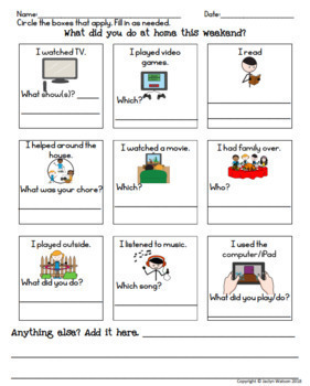 Weekend Review Social Skills Pack for Special Education