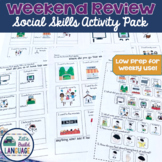Weekend Review Social Skills Activity Pack for Special Education