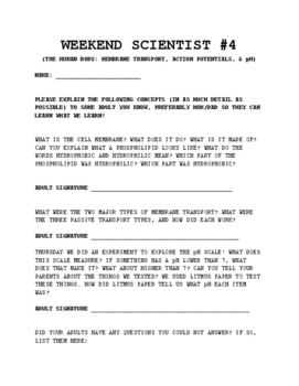 Weekend Scientist Sheet (Homework)#4: Nervous System- Kids Teach Back to Parents