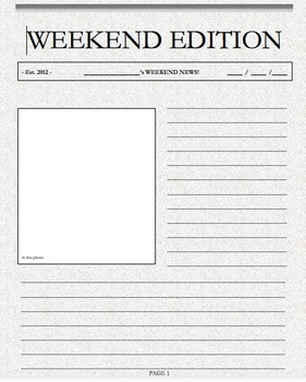 Weekend writing weekend news template front page by for Create your own newspaper template