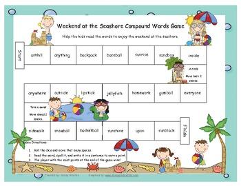 Weekend at the Seashore Compound Word Literacy Station Game RF.1.3, RF.2.3