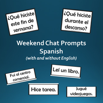 Weekend chat prompts past tense (Spanish)