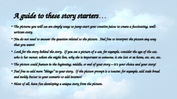 Weekly visual and verbal story starters