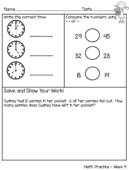 Weekly 1st Grade Math Practice - Common Core Aligned