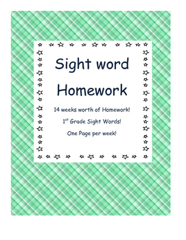 Weekly 1st Grade Sight Word Homework