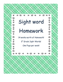 Weekly 1st Grade Sight Word Homework