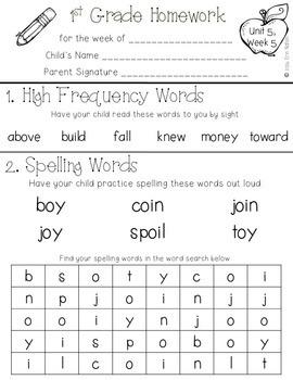 Weekly 1st Grade Homework {75 pages of ELA activities}