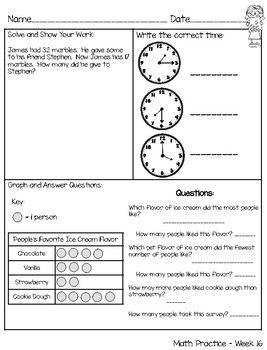 Weekly 2nd Grade Math Practice - Common Core Aligned
