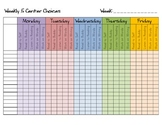 Weekly 5 Centers Choices Whole Class Log