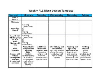 Weekly ALL Block Lesson Template