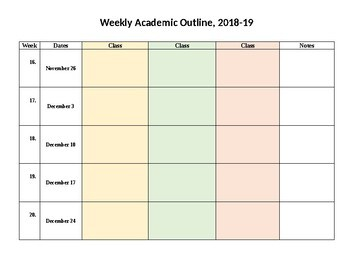 EDITABLE Weekly Lesson Plan Outline 2018-19