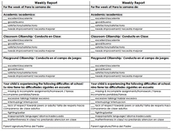 Weekly Academic and Citizenship Bilingual Report