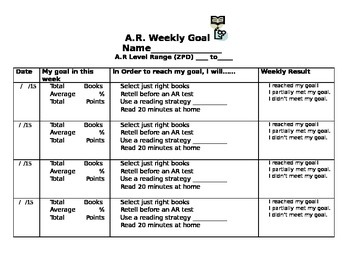 Weekly Accelerated Reader's Goal Sheet