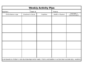 Weekly Activity Plan (Infant-Toddler)