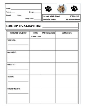 Weekly Activity Template for Middle School Social Studies