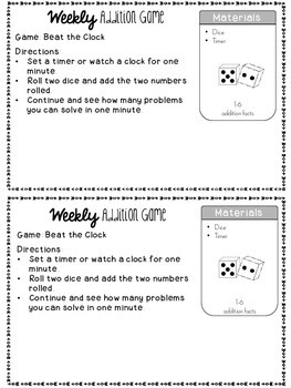 Weekly Addition Games