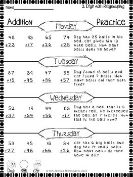 Weekly Addition and Subtraction Worksheets