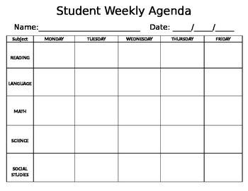 Weekly Agenda