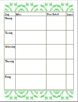 Weekly Agenda/Behavior Chart