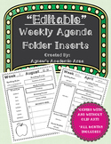 Weekly Agenda Folder Inserts (Parent Communication Tool) ~EDITABLE~