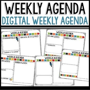 Weekly Agenda Newsletter (GOOGLE SLIDES - editable) Arrow Themed