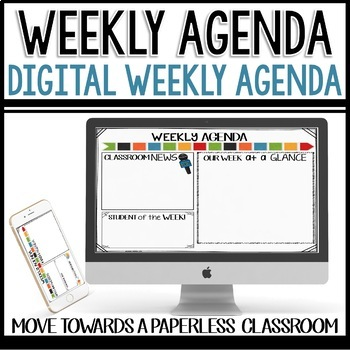 Weekly Agenda Newsletter (USE WITH GOOGLE SLIDES - editable) Arrow Themed