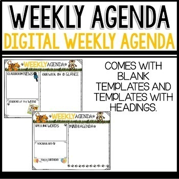 Weekly Agenda Newsletter (USE WITH GOOGLE SLIDES - editable) JUNGLE Themed