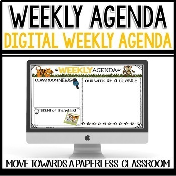 Weekly Agenda Newsletter (GOOGLE SLIDES - editable) JUNGLE Themed