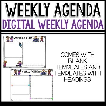 Weekly Agenda Newsletter (GOOGLE SLIDES - editable) Rock and Roll Themed