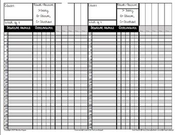 Weekly All-In-One Recording Sheet/Gradebook