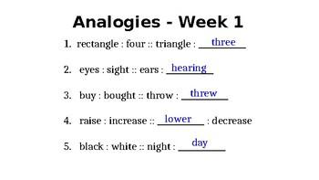 Weekly Analogies