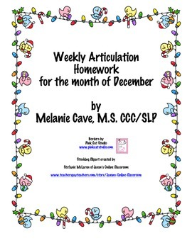 Weekly Articulation Homework for December /r/